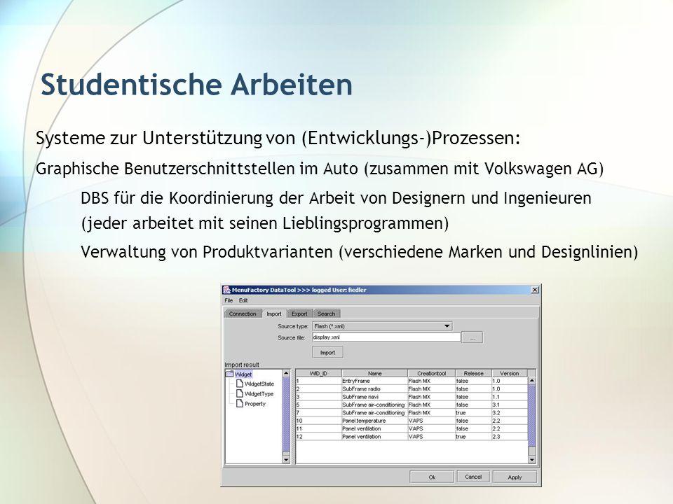 Studentische Arbeiten Systeme zur Unterstützung von (Entwicklungs-)Prozessen: Graphische Benutzerschnittstellen im Auto (zusammen mit Volkswagen AG) D