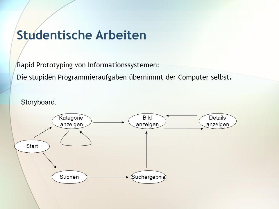Studentische Arbeiten Rapid Prototyping von Informationssystemen: Die stupiden Programmieraufgaben übernimmt der Computer selbst. Kategorie anzeigen S