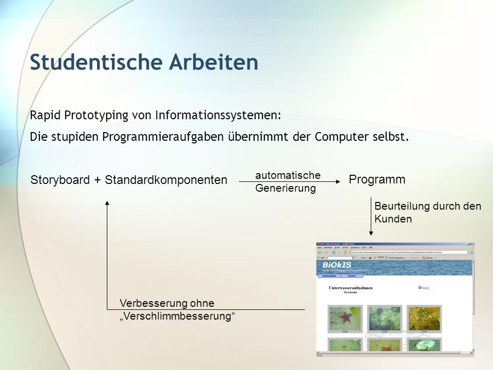 Studentische Arbeiten Rapid Prototyping von Informationssystemen: Die stupiden Programmieraufgaben übernimmt der Computer selbst. Storyboard + Standar