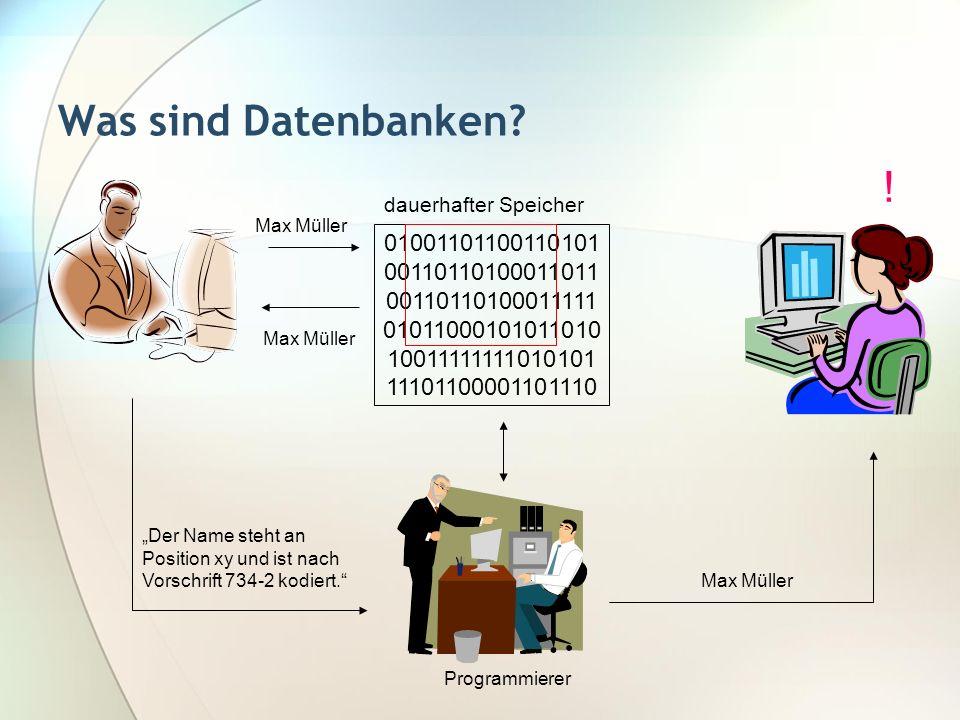 Was sind Datenbanken? 01001101100110101 00110110100011011 00110110100011111 01011000101011010 10011111111010101 11101100001101110 dauerhafter Speicher
