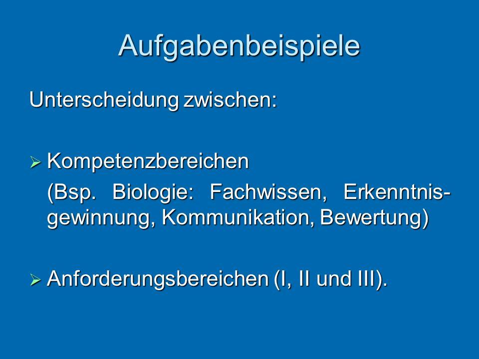 Aufgabenbeispiele Unterscheidung zwischen: Kompetenzbereichen Kompetenzbereichen (Bsp. Biologie: Fachwissen, Erkenntnis- gewinnung, Kommunikation, Bew