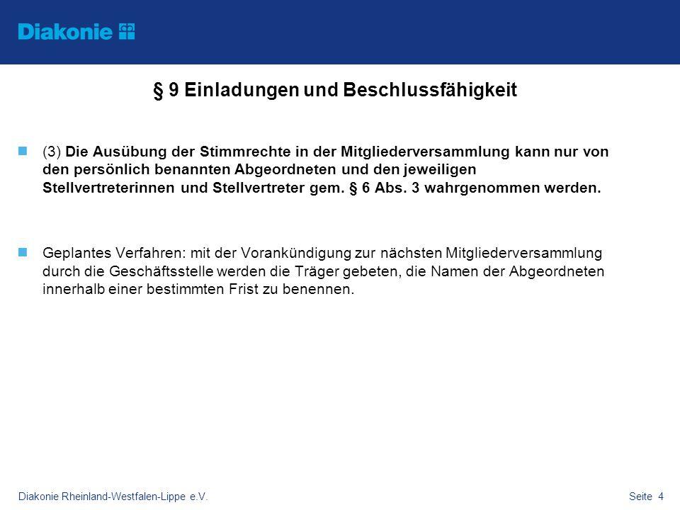 Diakonie Rheinland-Westfalen-Lippe e.V.Seite 4 § 9 Einladungen und Beschlussfähigkeit (3) Die Ausübung der Stimmrechte in der Mitgliederversammlung ka