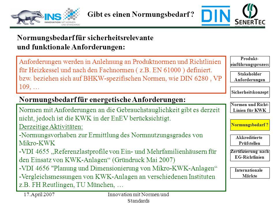 17.April 2007Innovation mit Normen und Standards Normungsbedarf für sicherheitsrelevante und funktionale Anforderungen: Anforderungen werden in Anlehn
