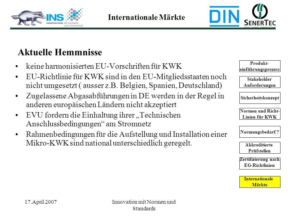 17.April 2007Innovation mit Normen und Standards keine harmonisierten EU-Vorschriften für KWK EU-Richtlinie für KWK sind in den EU-Mitgliedsstaaten no