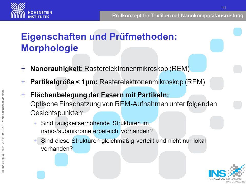 Prüfkonzept für Textilien mit Nanokompositausrüstung 11 folien/xxx.ppt/aj Folien Nr. 11; 09.11.2013 © Hohensteiner Institute Eigenschaften und Prüfmet