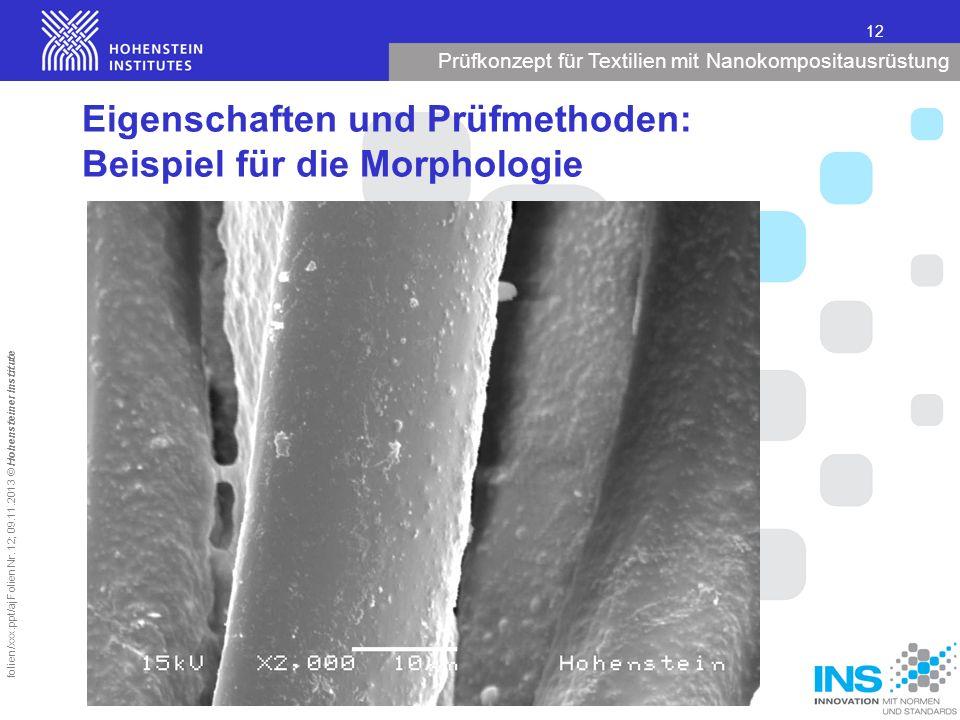 Prüfkonzept für Textilien mit Nanokompositausrüstung 12 folien/xxx.ppt/aj Folien Nr. 12; 09.11.2013 © Hohensteiner Institute Eigenschaften und Prüfmet