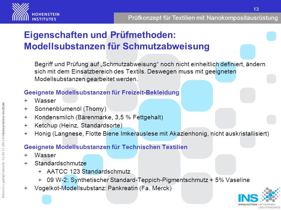 Prüfkonzept für Textilien mit Nanokompositausrüstung 13 folien/xxx.ppt/aj Folien Nr. 13; 09.11.2013 © Hohensteiner Institute Eigenschaften und Prüfmet