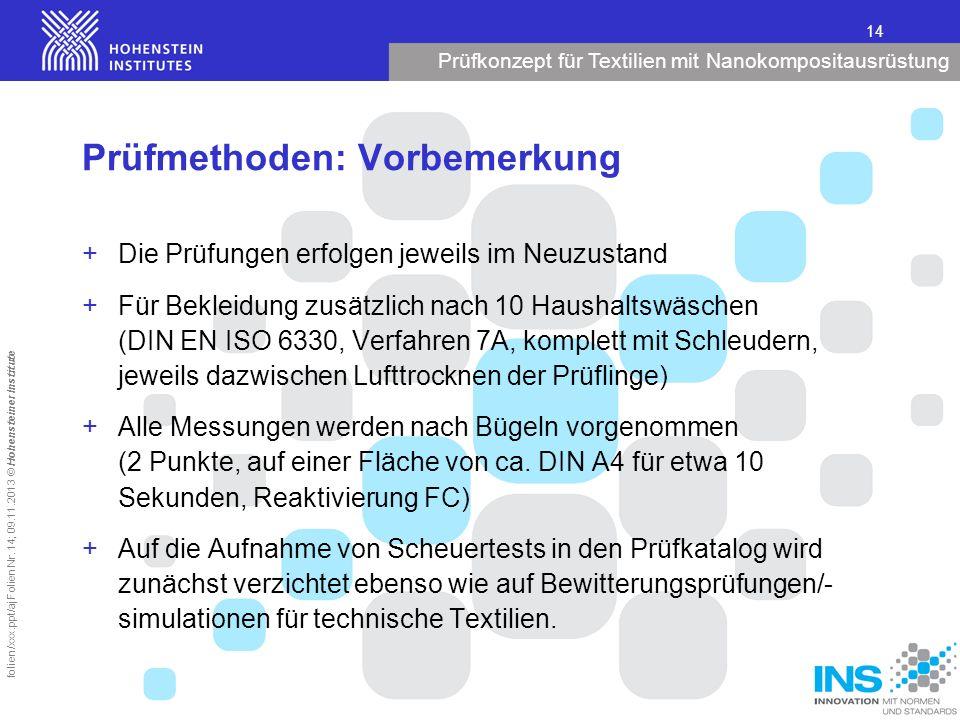 Prüfkonzept für Textilien mit Nanokompositausrüstung 14 folien/xxx.ppt/aj Folien Nr. 14; 09.11.2013 © Hohensteiner Institute Prüfmethoden: Vorbemerkun