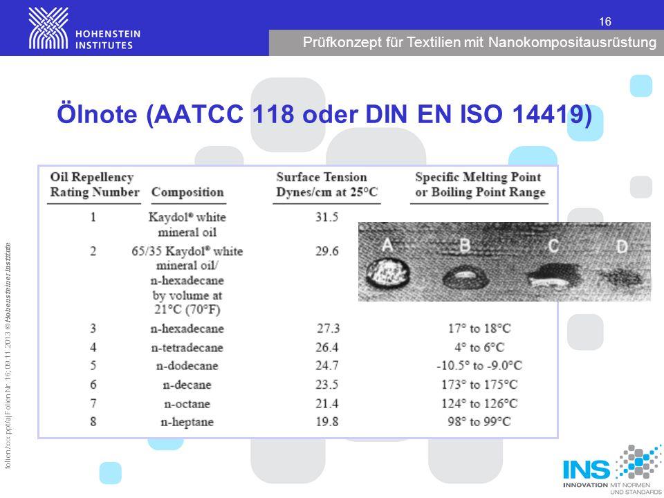 Prüfkonzept für Textilien mit Nanokompositausrüstung 16 folien/xxx.ppt/aj Folien Nr. 16; 09.11.2013 © Hohensteiner Institute Ölnote (AATCC 118 oder DI