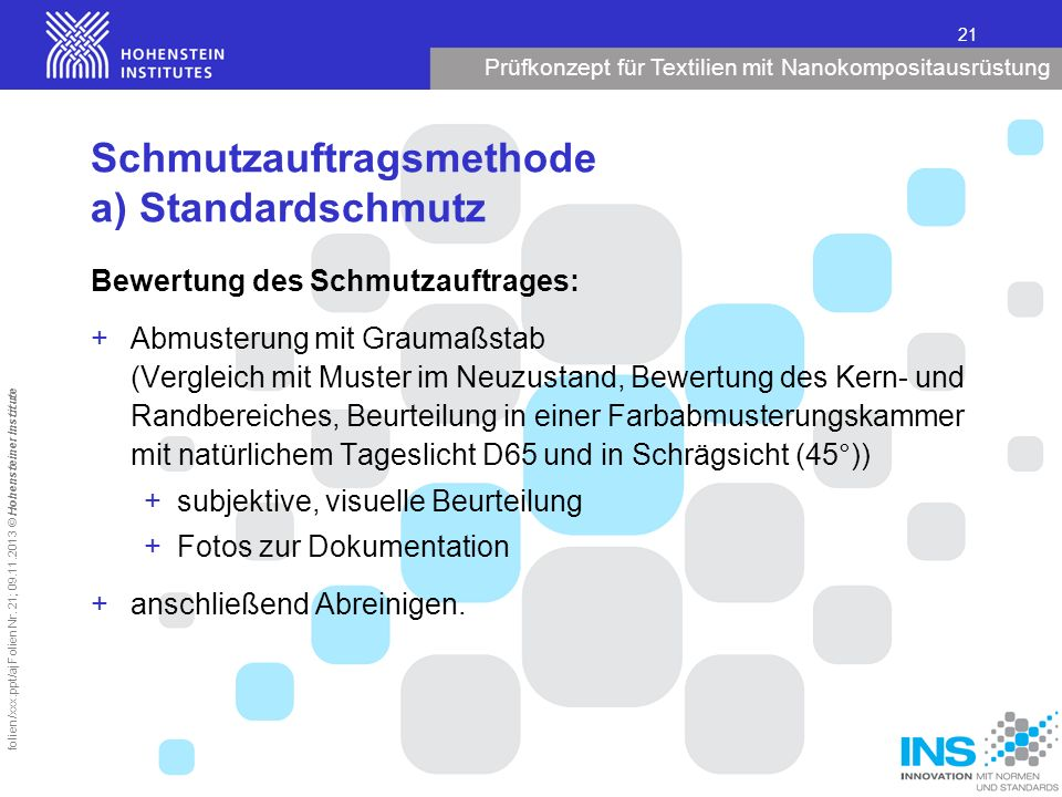 Prüfkonzept für Textilien mit Nanokompositausrüstung 21 folien/xxx.ppt/aj Folien Nr. 21; 09.11.2013 © Hohensteiner Institute Schmutzauftragsmethode a)