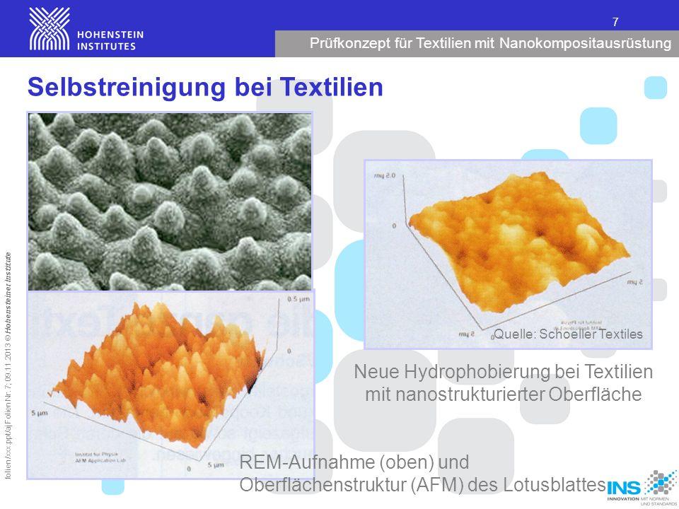 Prüfkonzept für Textilien mit Nanokompositausrüstung 7 folien/xxx.ppt/aj Folien Nr. 7; 09.11.2013 © Hohensteiner Institute Neue Hydrophobierung bei Te