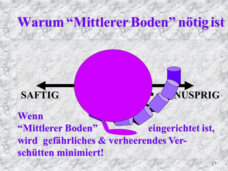17 Warum Mittlerer Boden nötig ist Warum Mittlerer Boden nötig ist SAFTIGKNUSPRIG Wenn Mittlerer Boden eingerichtet ist, wird gefährliches & verheerendes Ver- schütten minimiert!