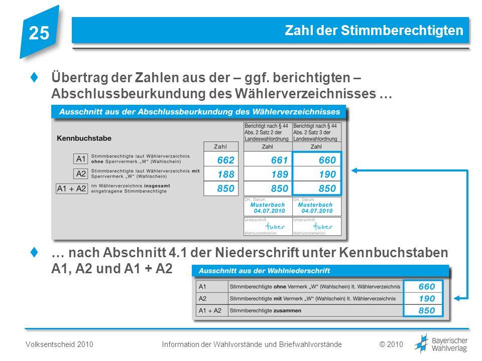 Information der Wahlvorstände und BriefwahlvorständeVolksentscheid 2010© 2010 Zahl der Stimmberechtigten Übertrag der Zahlen aus der – ggf. berichtigt