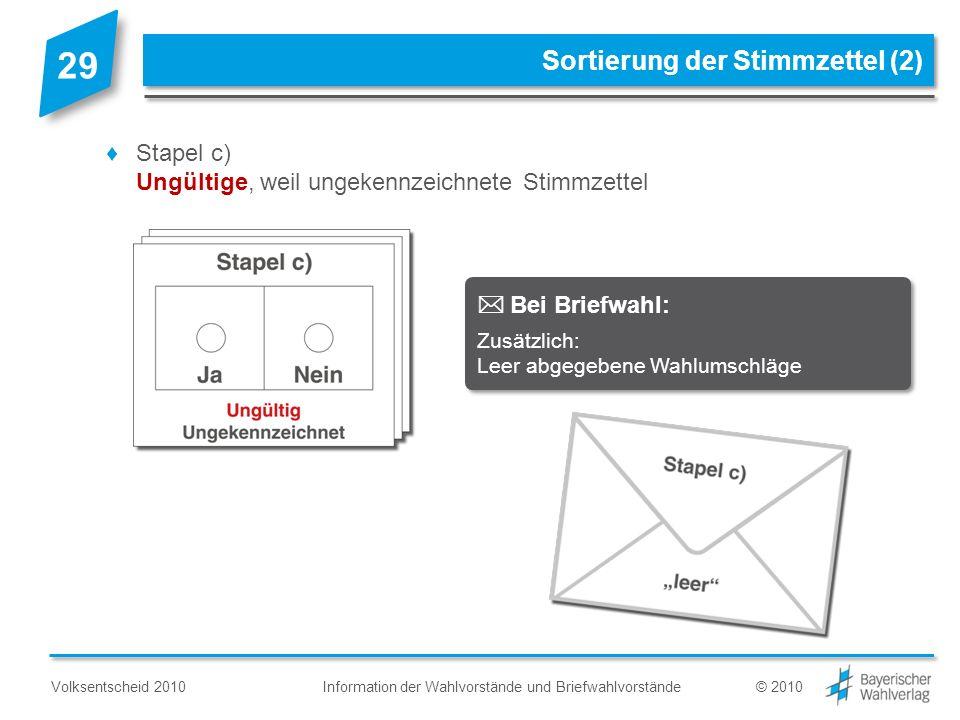 Information der Wahlvorstände und BriefwahlvorständeVolksentscheid 2010© 2010 Sortierung der Stimmzettel (2) Stapel c) Ungültige, weil ungekennzeichne