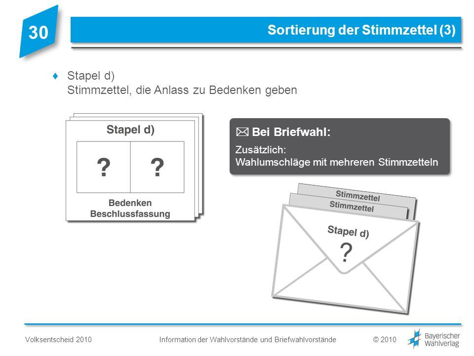 Information der Wahlvorstände und BriefwahlvorständeVolksentscheid 2010© 2010 Stapel d) Stimmzettel, die Anlass zu Bedenken geben Sortierung der Stimm