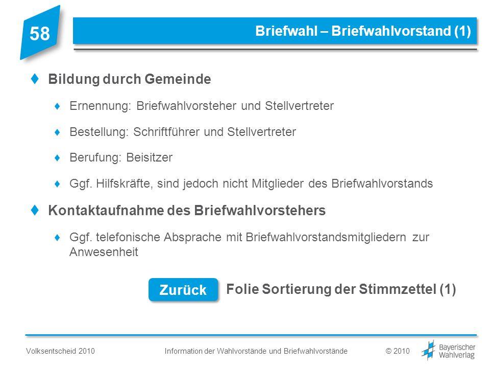 Information der Wahlvorstände und BriefwahlvorständeVolksentscheid 2010© 2010 Briefwahl – Briefwahlvorstand (1) Bildung durch Gemeinde Ernennung: Brie