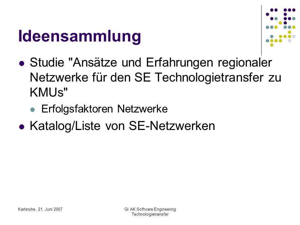 Karlsruhe, 21. Juni 2007GI AK Software Engineering Technologietransfer Ideensammlung Studie