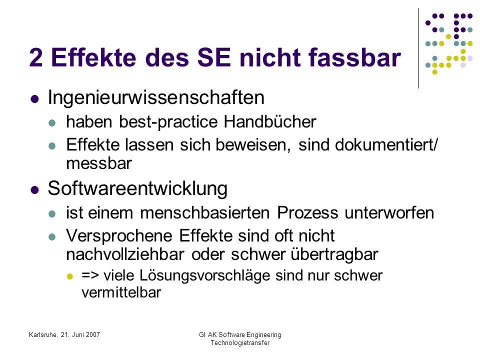 Karlsruhe, 21. Juni 2007GI AK Software Engineering Technologietransfer 2 Effekte des SE nicht fassbar Ingenieurwissenschaften haben best-practice Hand