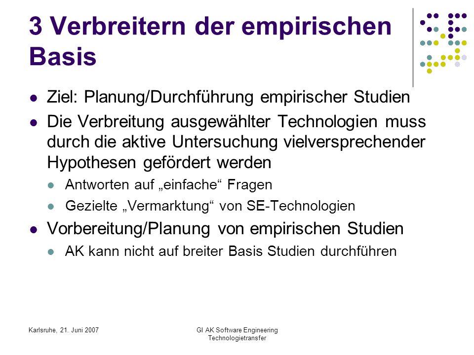 Karlsruhe, 21. Juni 2007GI AK Software Engineering Technologietransfer 3 Verbreitern der empirischen Basis Ziel: Planung/Durchführung empirischer Stud