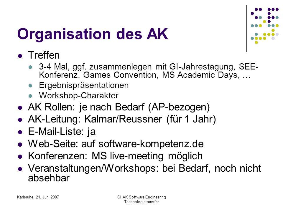 Karlsruhe, 21. Juni 2007GI AK Software Engineering Technologietransfer Organisation des AK Treffen 3-4 Mal, ggf. zusammenlegen mit GI-Jahrestagung, SE