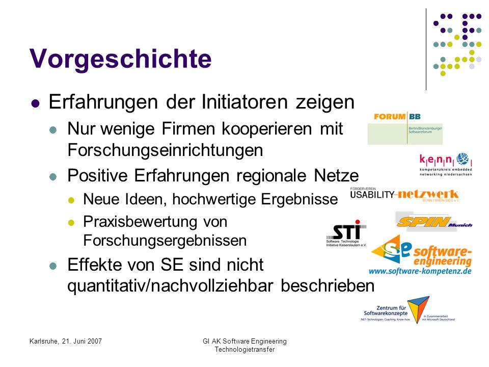 Karlsruhe, 21. Juni 2007GI AK Software Engineering Technologietransfer Vorgeschichte Erfahrungen der Initiatoren zeigen Nur wenige Firmen kooperieren