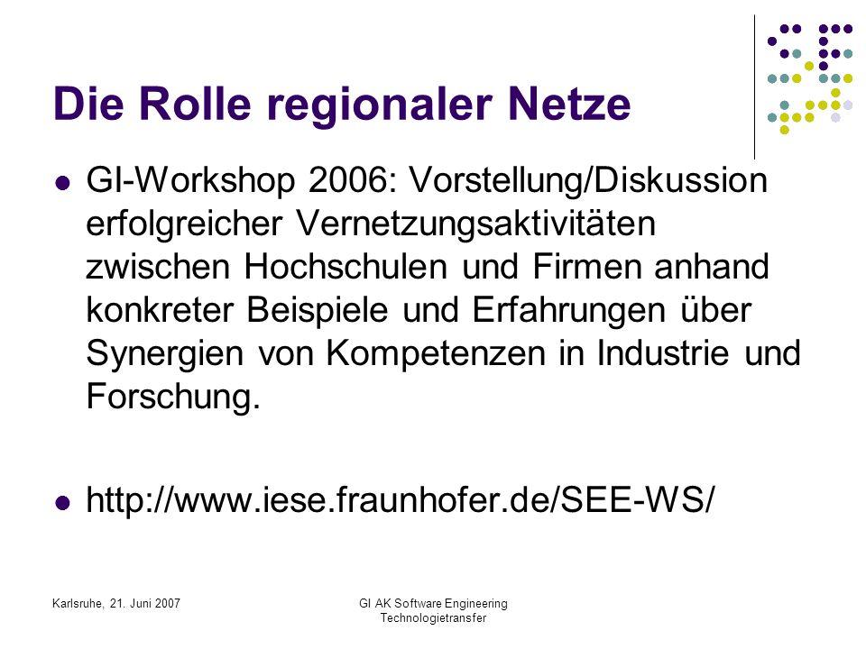 Karlsruhe, 21. Juni 2007GI AK Software Engineering Technologietransfer Die Rolle regionaler Netze GI-Workshop 2006: Vorstellung/Diskussion erfolgreich