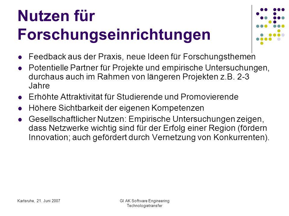 Karlsruhe, 21. Juni 2007GI AK Software Engineering Technologietransfer Nutzen für Forschungseinrichtungen Feedback aus der Praxis, neue Ideen für Fors