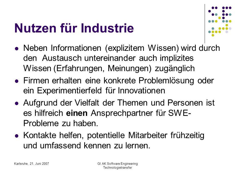 Karlsruhe, 21. Juni 2007GI AK Software Engineering Technologietransfer Nutzen für Industrie Neben Informationen (explizitem Wissen) wird durch den Aus