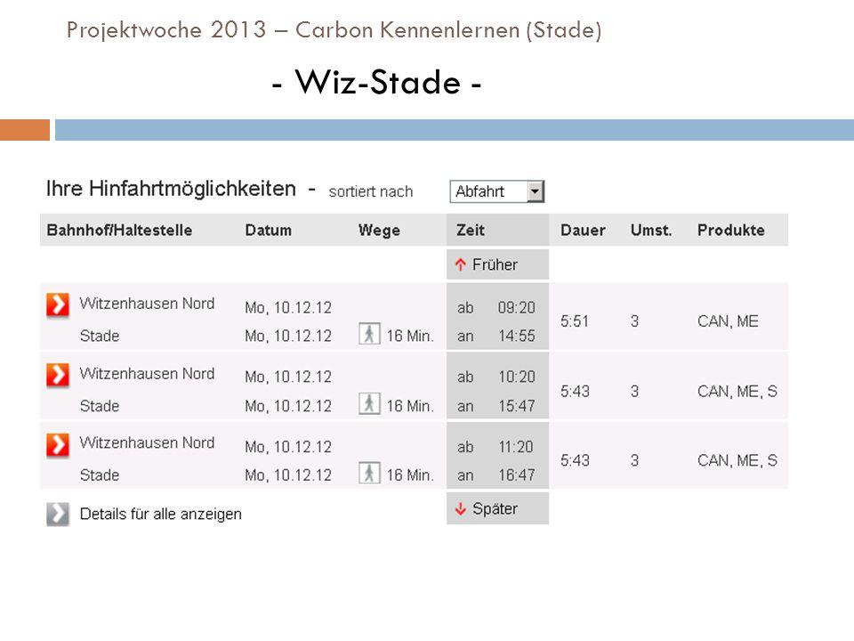 Projektwoche 2013 – Carbon Kennenlernen (Stade) - Wiz-Stade -