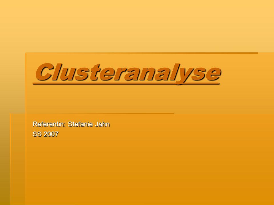 Clusteranalyse Referentin: Stefanie Jahn SS 2007