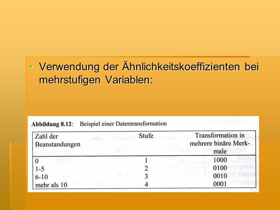 Verwendung der Ähnlichkeitskoeffizienten bei mehrstufigen Variablen: Verwendung der Ähnlichkeitskoeffizienten bei mehrstufigen Variablen: