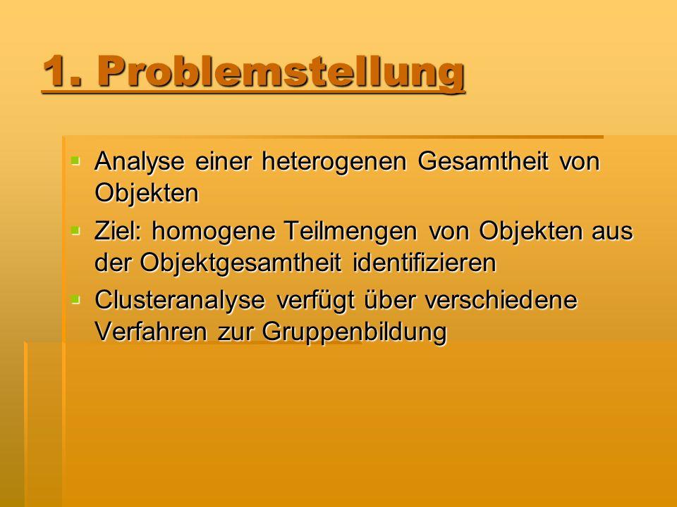 1. Problemstellung Analyse einer heterogenen Gesamtheit von Objekten Analyse einer heterogenen Gesamtheit von Objekten Ziel: homogene Teilmengen von O
