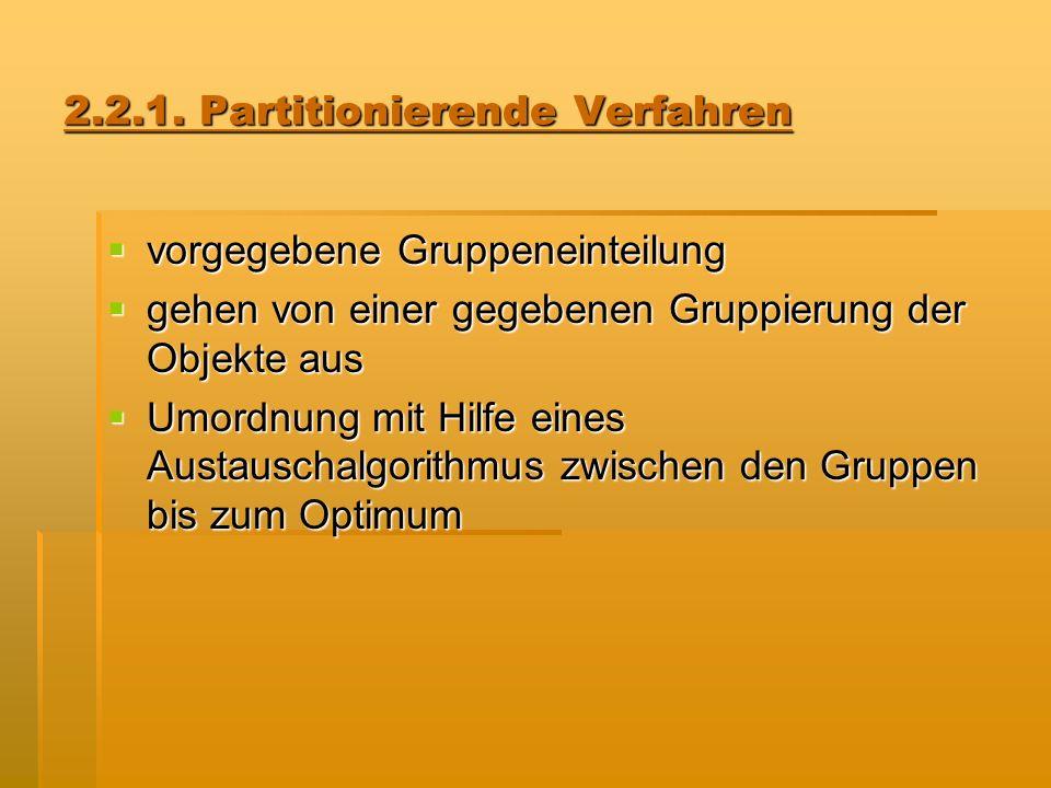 2.2.1. Partitionierende Verfahren vorgegebene Gruppeneinteilung vorgegebene Gruppeneinteilung gehen von einer gegebenen Gruppierung der Objekte aus ge