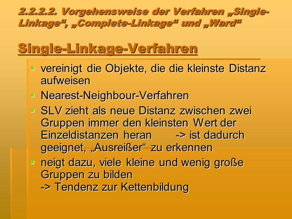 2.2.2.2. Vorgehensweise der Verfahren Single- Linkage, Complete-Linkage und Ward Single-Linkage-Verfahren vereinigt die Objekte, die die kleinste Dist