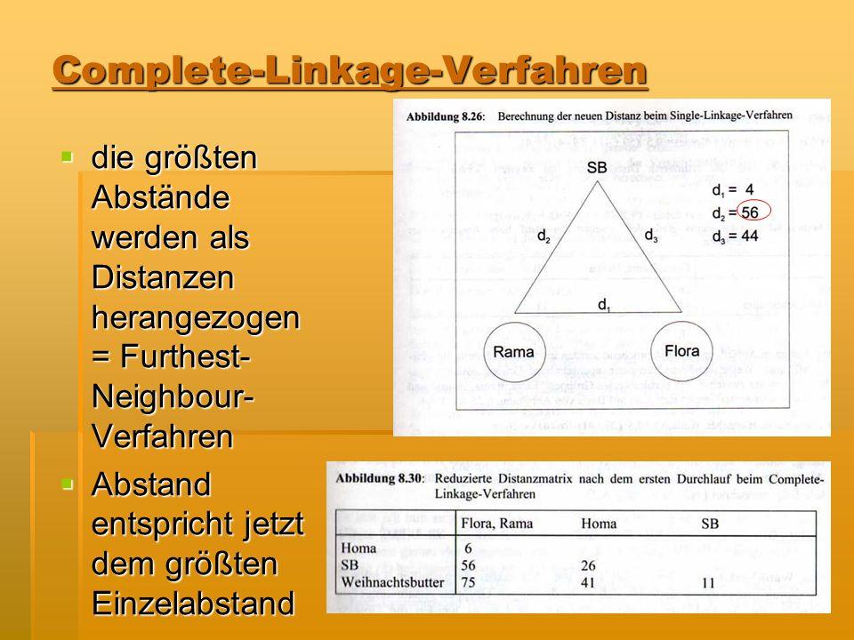 Complete-Linkage-Verfahren die größten Abstände werden als Distanzen herangezogen = Furthest- Neighbour- Verfahren die größten Abstände werden als Dis