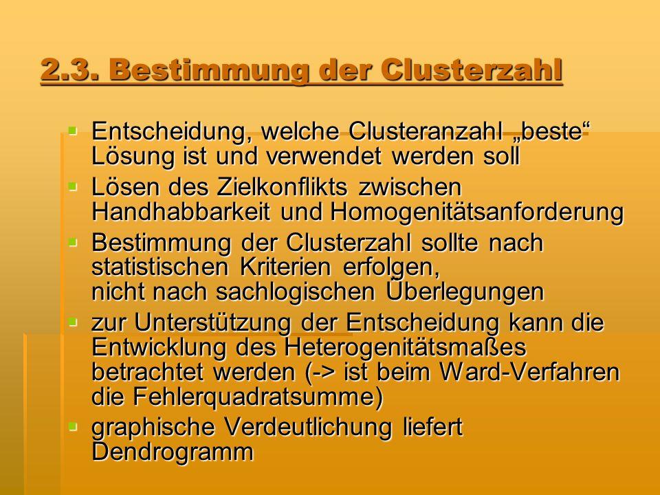 2.3. Bestimmung der Clusterzahl Entscheidung, welche Clusteranzahl beste Lösung ist und verwendet werden soll Entscheidung, welche Clusteranzahl beste