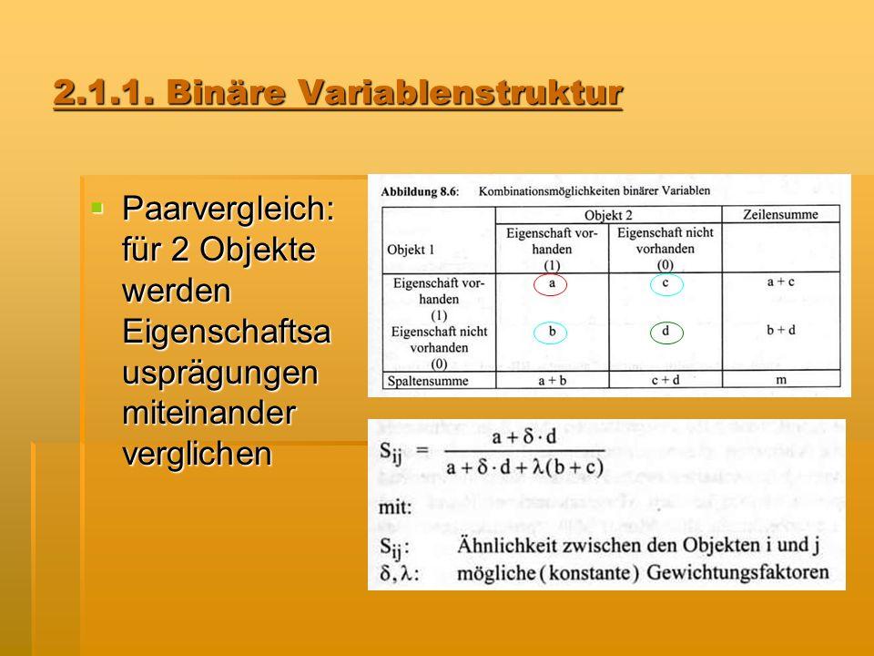 2.1.1. Binäre Variablenstruktur Paarvergleich: für 2 Objekte werden Eigenschaftsa usprägungen miteinander verglichen Paarvergleich: für 2 Objekte werd