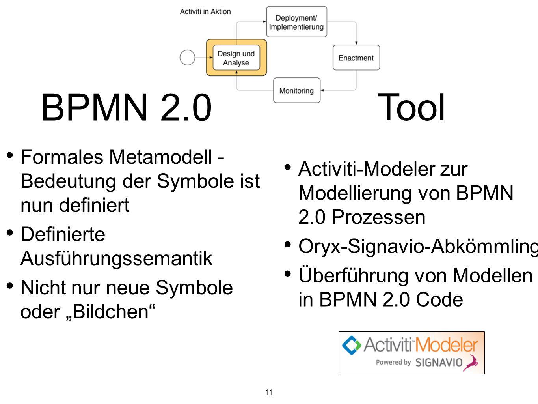 11 Tool BPMN 2.0 Formales Metamodell - Bedeutung der Symbole ist nun definiert Definierte Ausführungssemantik Nicht nur neue Symbole oder Bildchen Act