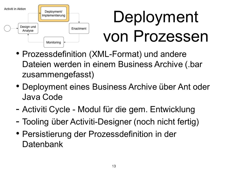 13 Deployment von Prozessen Prozessdefinition (XML-Format) und andere Dateien werden in einem Business Archive (.bar zusammengefasst) Deployment eines