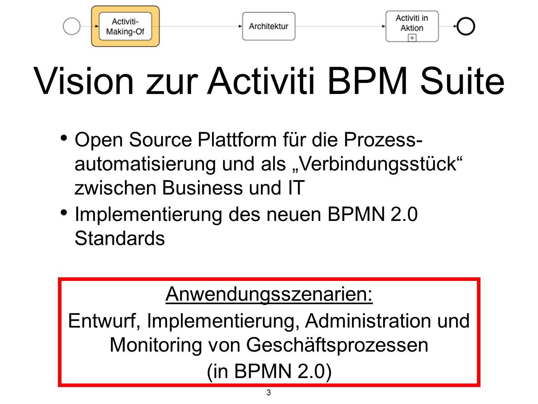 3 Open Source Plattform für die Prozess- automatisierung und als Verbindungsstück zwischen Business und IT Implementierung des neuen BPMN 2.0 Standard
