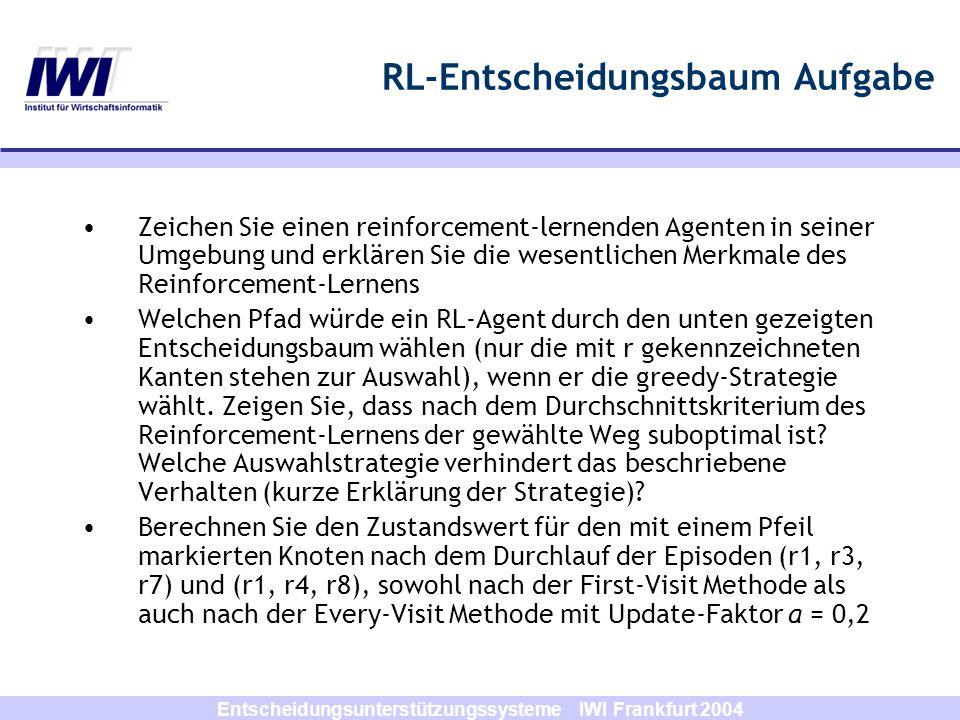 Entscheidungsunterstützungssysteme IWI Frankfurt 2004 RL-Entscheidungsbaum Aufgabe r 8 = 5 r 4 = 7 r 1 = 3 r 7 = 9 r 3 = 4