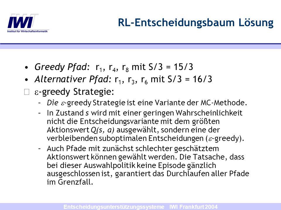 Entscheidungsunterstützungssysteme IWI Frankfurt 2004 RL-Entscheidungsbaum Lösung Update Regel für das every-visit MC- Verfahren V(st) V(st) + [R t - V(st)] First-Visit Verfahren: 6,5 Every-Visit Verfahren: 0,8*6,5 + 0,2*6 = 6,4