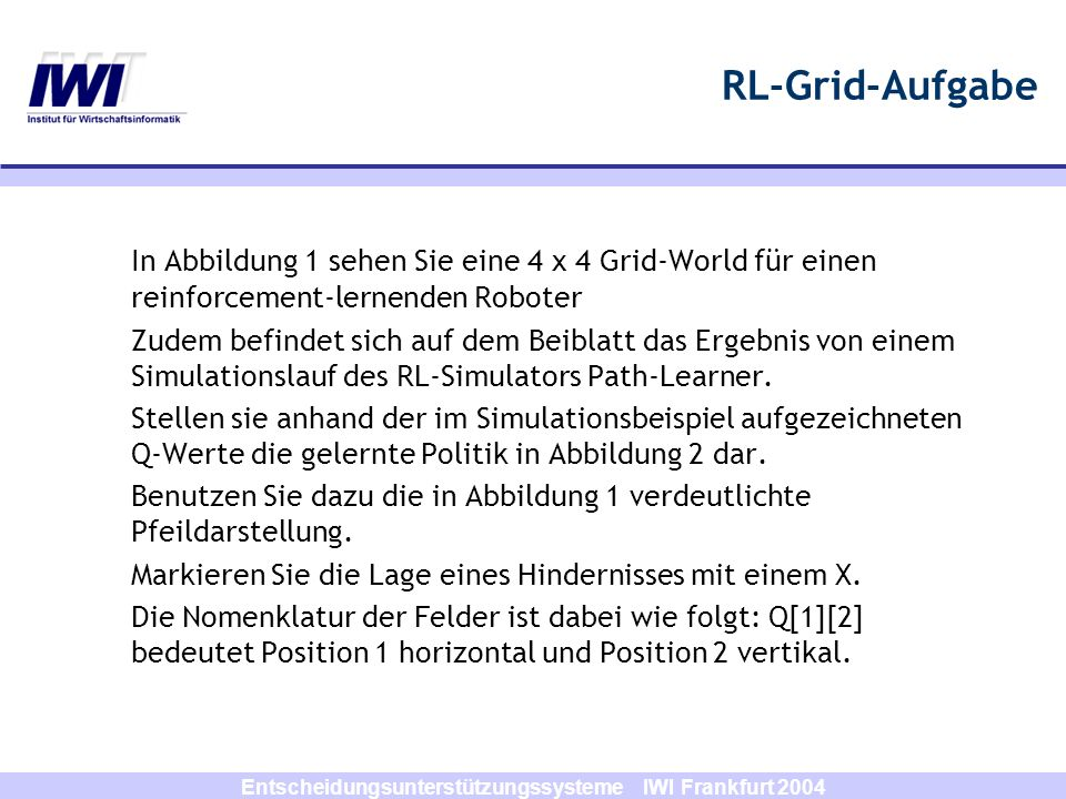 Entscheidungsunterstützungssysteme IWI Frankfurt 2004 RL-Grid-Aufgabe Abbildung 1: Abbildung 2: