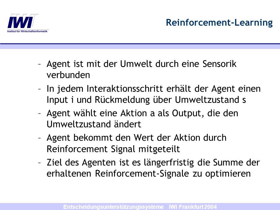 Entscheidungsunterstützungssysteme IWI Frankfurt 2004 Reinforcement-Learning Agent Umgebung Action a r Reward rZu- stand s r t+1 s t+1