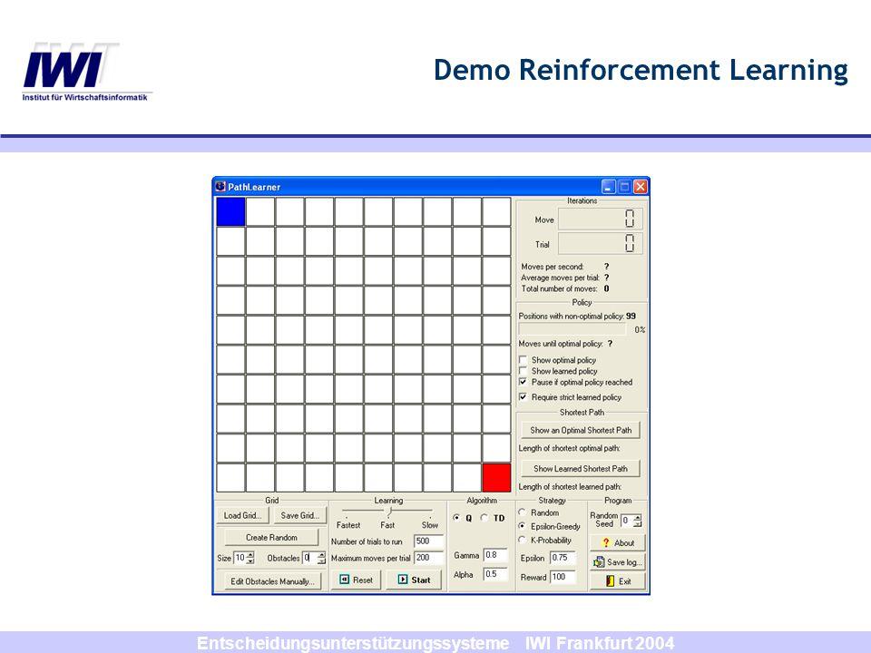 Entscheidungsunterstützungssysteme IWI Frankfurt 2004 Temporal-Difference-Learning kombiniert Dynamische Programmierung mit Monte- Carlo-Methode Einteilung in Episoden setzt am Anfang der Durchläufe für jedes V(s) Schätzwerte korrigiert Schätzwert für V(s,t) über Summe aus folgendem Return und folgender Zustandswertfunktion Episode muss zur Bildung von Schätzwerten nicht komplett durchlaufen werden!