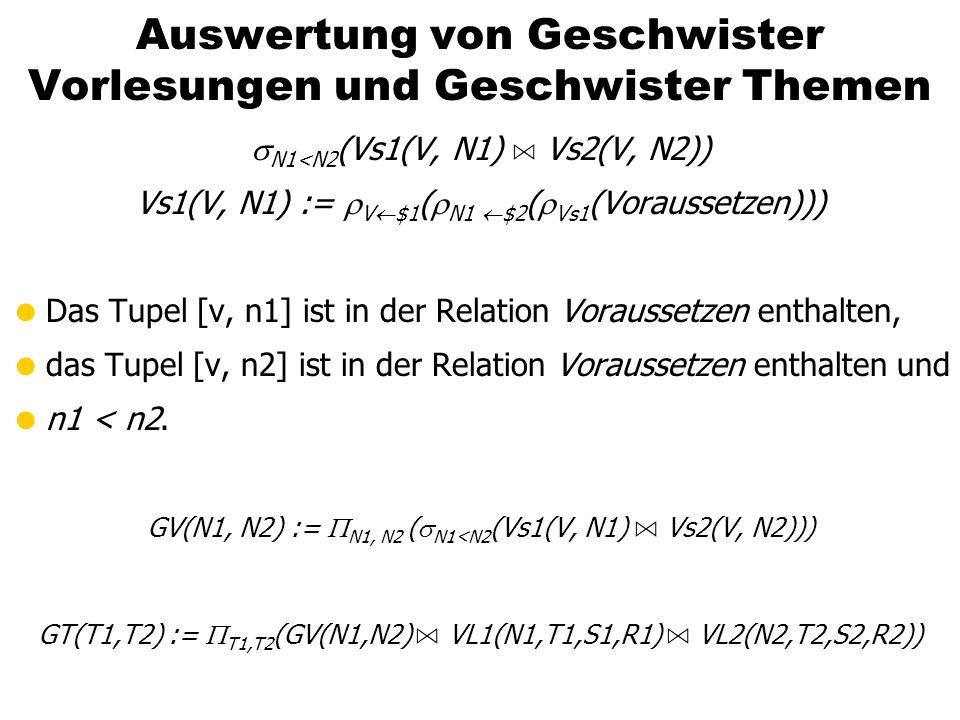 Auswertung von Geschwister Vorlesungen und Geschwister Themen N1<N2 (Vs1(V, N1) A Vs2(V, N2)) Vs1(V, N1) := V $1 ( N1 $2 ( Vs1 (Voraussetzen))) Das Tu