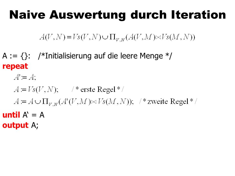 Naive Auswertung durch Iteration A := {}: /*Initialisierung auf die leere Menge */ repeat until A = A output A;