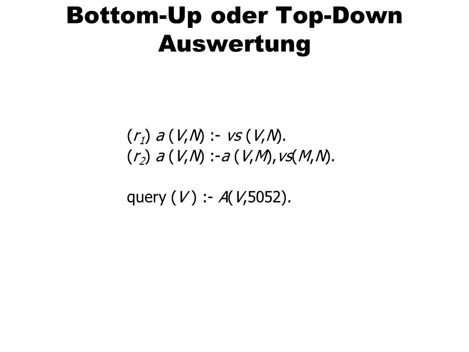 Bottom-Up oder Top-Down Auswertung (r 1 ) a (V,N) :- vs (V,N). (r 2 ) a (V,N) :-a (V,M),vs(M,N). query (V ) :- A(V,5052).