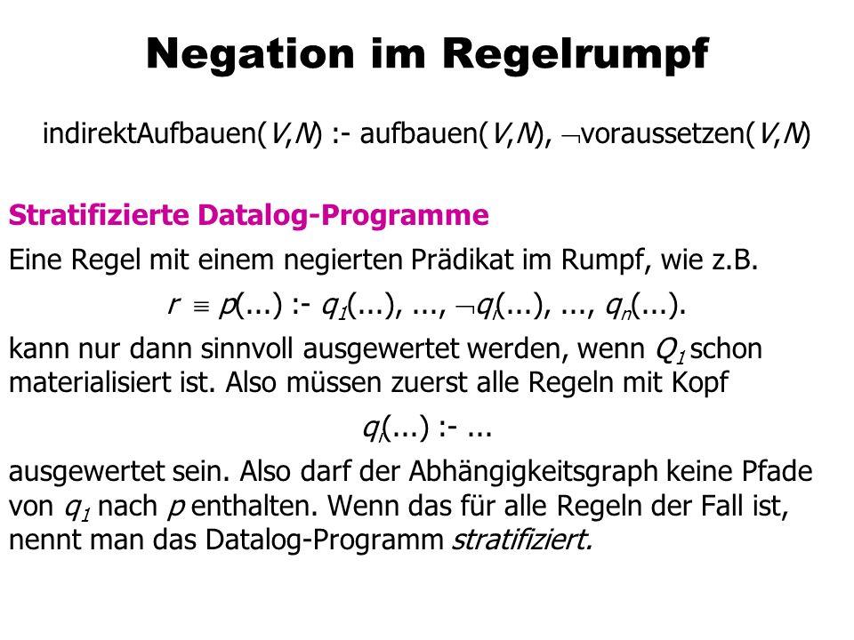 Negation im Regelrumpf indirektAufbauen(V,N) :- aufbauen(V,N), voraussetzen(V,N) Stratifizierte Datalog-Programme Eine Regel mit einem negierten Prädi