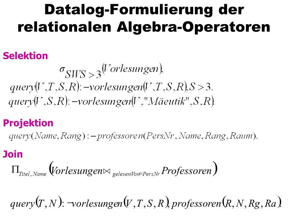 Datalog-Formulierung der relationalen Algebra-Operatoren Selektion Projektion Join.,,,,,,,:,, RaRgNRnprofessoreRSTVnvorlesungeNTquery nProfessorenVorl